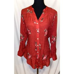 Fig and Flower Chic Blouse Tunic Embroidered Shirt